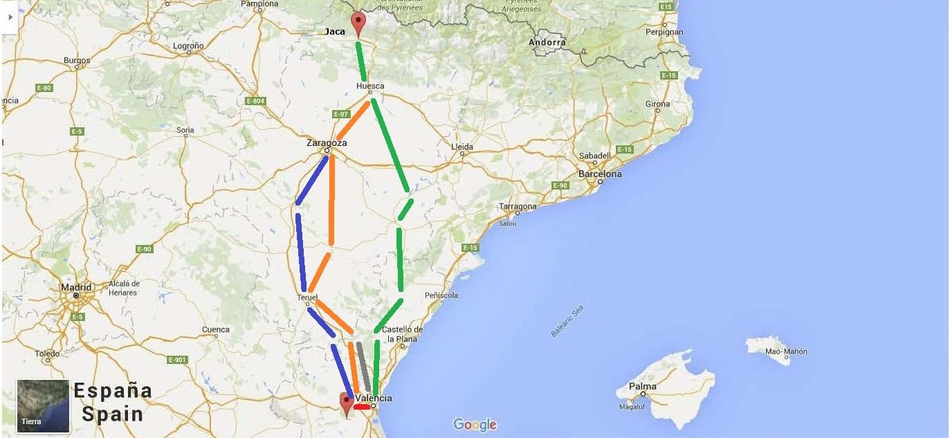 2 Mapa Caminos Jaca-Valencia 151027