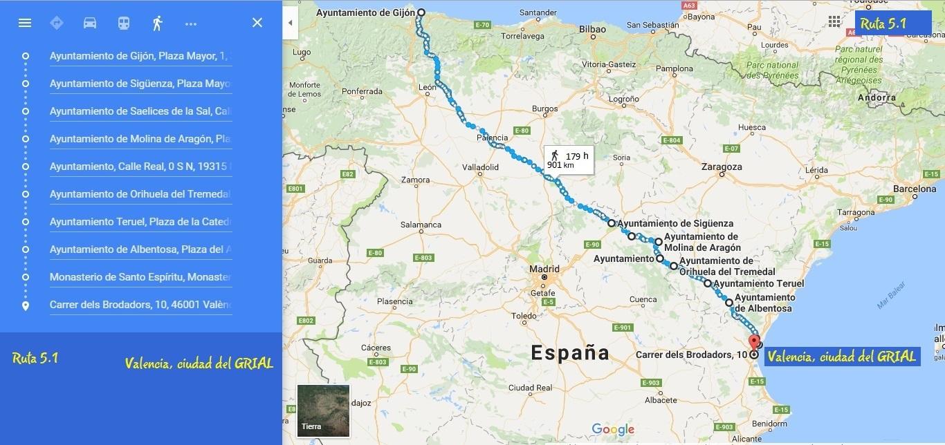 Los Caminos del Grial, Gijón a Valencia Ruta 5.1G&M