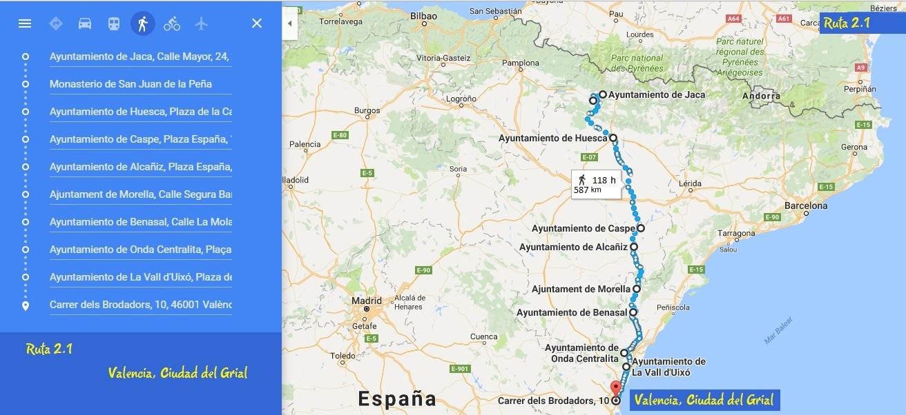 Los Caminos del Grial, Jaca a Valencia, Ruta 02.1 - Valencia ciudad del Grial